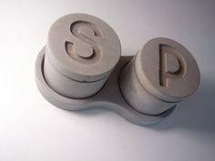 Kreteware Concrete - Salt and Pepper Jars with Evolution storage serving tray holder