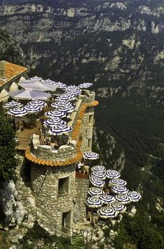 a cliffside cafe in Gourdon, France.