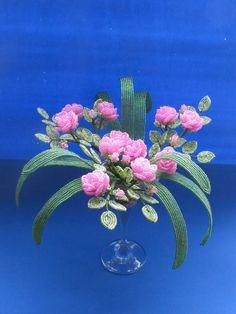 Кустик розы в бокале. Highlights, Beads And Wire, Beaded Flowers, Carving, Plants, Painting, Beading, French, Tela