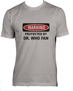 PROTECTED BY DR. WHO FAN Adult Male (Mens Fit) Super Soft T-Shirt SILVER LARGE