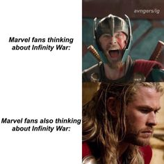 Exactly me right now. I'm so pumped to see it, but I also foresee it crushing our cheerful souls. Marvel Funny, Marvel Memes, Marvel Dc Comics, Marvel Avengers, Loki, Thor, Avengers Infinity War, Chris Hemsworth, Marvel Cinematic Universe