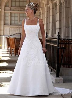 Wedding Dresses - $189.84 - A-Line/Princess Square Neckline Detachable Satin Wedding Dress With Embroidered Lace Beading Flower(s) (00205002133)