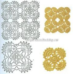 Квадратные мотивы крючком; translated Square crochet motifs - It's in another language but there are Lots of Diagram patterns on this site