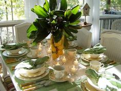 Image result for magnolia leaves for rehearsal dinner table setting
