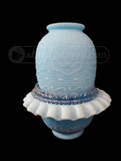 shopgoodwill.com: Fenton Persian Medallion Blue Satin Fairy Lamp Candle Lamp, Candleholders, Glass Candle, Vintage Dishes, Vintage Glassware, Glass Lamps, Glass Art, Fenton Lamps, Fairy Lamp