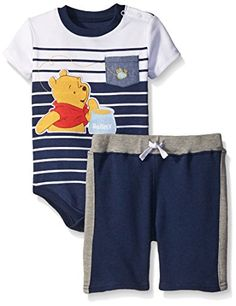 a133c75b3 Disney Baby 2 Piece Winnie The Pooh Creeper and Short Blue03Months ***  Click image