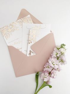 2020 Wedding Invitations - Glam Rose Gold Invitations for a Pink Wedding
