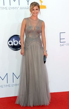 """""""Revenge"""" star Emily VanCamp looked rather ethereal as she floated down the red carpet in a dove gray tulle gown by J. Mendel and jewels by Van Cleef & Arpels, which included a sparkling bow-tied bracelet."""