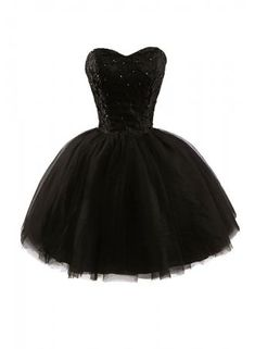 Lovely Tulle Sweetheart Black Ball Gown Prom Dresses,