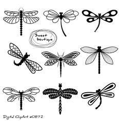 How to Draw a Dragonfly – Really Easy Drawing Tutorial Dragonfly Silhouette, Silhouette Clip Art, Animal Silhouette, Black Silhouette, Dragonfly Drawing, Dragonfly Tattoo Design, Dragonfly Art, Dragonfly Images, Dragonfly Clipart
