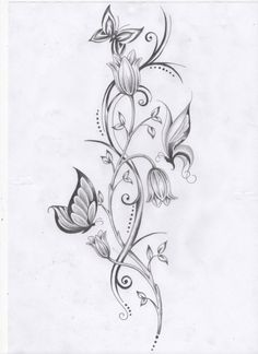Vine Flowers And Butterfly Tattoo Design