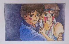 San & Ashitaka fan art by  Federica Caso