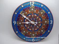 Купить Часы на стену с цифрами Персия .Point-to-point Точечная роспись - синий золото