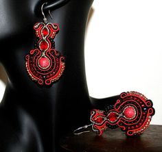 Beautiful Large Red Soutache Earrings for Women by margoterie