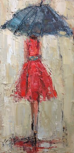 """Lady in Red"" www.kathryntrotterart.com, fashion paintings, fashion art,#fashionart, #umbrellapaintings"
