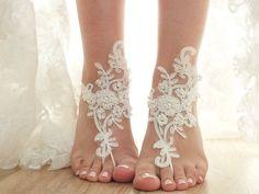 Ivory Beach Wedding Barefoot Sandals Lace Bridal