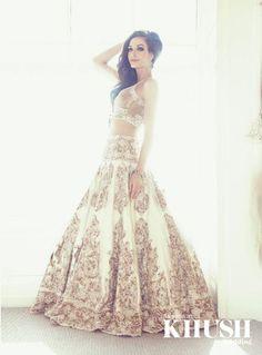 Gorgeous off-white and bronze full-skirt lehenga