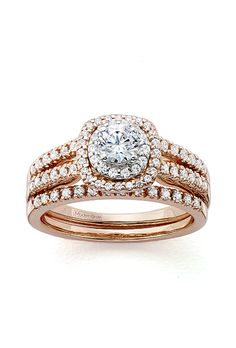 JCPenney. Modern Bride Signature 1 carat diamond in 14K rose gold bridal ring set, $5,666.65, JCPenney                                                                                                                                    Photo:  Courtesy of JCPenney                                                                                                                                                                                    Featured In: Rose Gold Engagement Rings