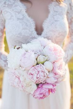 Jennifer's beautiful wedding bouquet made of peonies