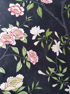 ZOFFANY CHINOISERIE NOSTELL PRIORY WALLPAPER BLACK PINK CREAM BUTTERFLY
