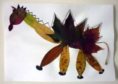 Fall diy for Dino fans. Let the leaves become a dinosaur.