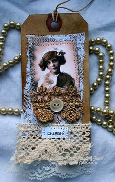 CHERISH Altered Shabby Tag by sugarlumpstudios on Etsy - coffee stained and altered. I have sewn lace and a beautiful collage face on to