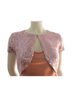 A Papell Boutique Pink Sequin Cropped Sweater | LH Exchange