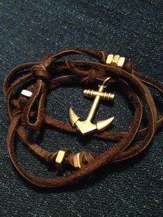 Teen's Brown Leather Wrap Bracelet with Gold Anchor Hook