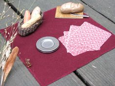 Sm Burgundy Autumn Table Cloth & Napkin Set 1:12 Scale Dollhouse Miniature Dining Room Fall Farm Kitchen Picnic Table Home Decor Textiles