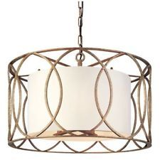 Troy Lighting F1285 Silver Gold Sausalito 5 Light Drum Pendant with Fabric Shade