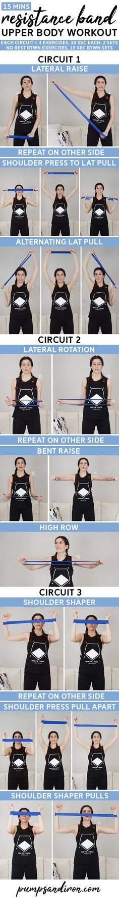 This upper body resistance band loop workout will take you 15 minutes. It's broken up into three mini circuits and packs a big burn! Follow along with the video at home.