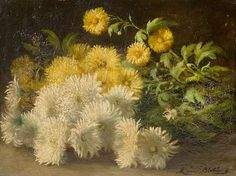 "Mathilde van Blokland, ""Chrysanthemen"", Belgien, um 1880 , Objektpreis, 4.140 EURO ."