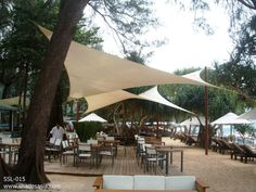 Shade sails, perfect for creating outdoor ambiance at restaurants, cafes etc. Shades Thailand designs, engineers, manufactures and ships products worldwide including sail shades, awnings, blinds, custom fabric structures for residential and commercial projects. Visit www.facebook.com/shadesthailand and our website www.shadesasia.com