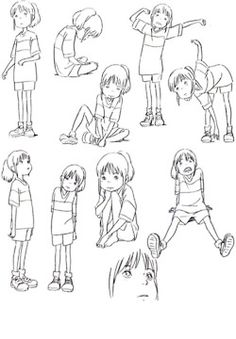 Spirited Away Character pose sheet. Good reference for drawing kids!