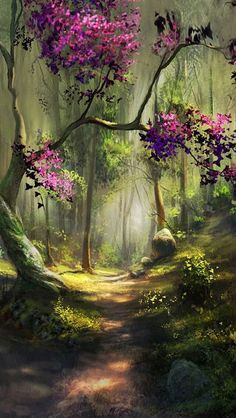 Fantasy Art Landscapes, Fantasy Landscape, Fantasy Artwork, Landscape Art, Beautiful Landscapes, Landscape Paintings, Android Wallpaper Forest, Free Android Wallpaper, Forest Wallpaper