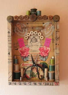 Found Object Assemblage - Vintage Sewing by doreycardinale on Etsy
