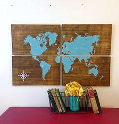 Wooden world map graffiti art reclaimed wood by alchemyhomedecor large wooden world map aqua rustic world map by alchemyhomedecor gumiabroncs Choice Image