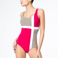 Three-Coloured Graphic Effect Swimsuit