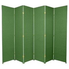 Oriental Furniture Four Ft. Tall Woven Fiber Room Divider Light Green Six Panel, Width - 96 Inches