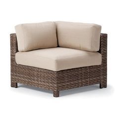 Telescope Casual La Vie Corner Chair with Cushion Finish: Driftwood Wicker, Fabric: Sequoia