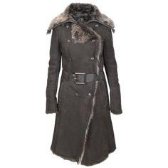 Forzieri Brown Fur-Trim Shearling Coat