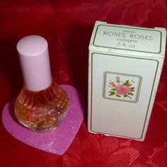 70s Avon ROSES, Roses Cologne Vintage Fragrance Bottle 1970's Perfume Shabby Victorian Chic Decor Romantic Vanity Beauty Collectible  Dab On
