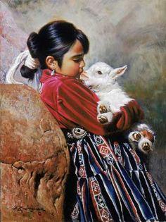Un besito, del pintor mexicano Alfredo Rodríguez, vía alfredoartist.com