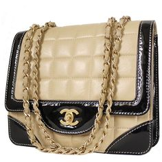 Pre-Owned Chanel Bicolor Calfskin Classic Cross-body Flap Shoulder Bag ($2,650) ❤ liked on Polyvore featuring bags, handbags, shoulder bags, chanel, bolsa, beige, flap crossbody bag, brown purse, flap shoulder bag and vintage purses