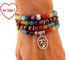Chakra 108 Mala meditation wrap bracelet or necklace. I have used to make this bracelet 6 mm Tigers eye, Lapis Lazuli, Amethyst, color enhanced