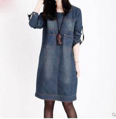 Весна и осень европейских и американских большой размер женщины мельница с длинными рукавами джинсовое платье старинные джинсовое платье
