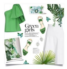 """In green"" by magdafunk ❤ liked on Polyvore featuring Victoria Beckham, Rosie Assoulin, Dolce&Gabbana, Paul Andrew, The Sak, McGinn, GREEN, interiordesign, midiskirt and floralbag"