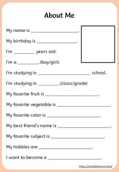 Printable About Me Worksheet - Your Home Teacher English Activities For Kids, Learning English For Kids, English Lessons For Kids, English Worksheets For Kids, Learn English Words, English Language Learning, Spanish Language, French Language, Learning Spanish