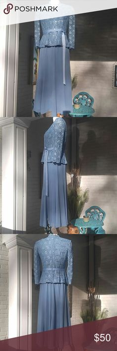 Lady's, 2 Piece, Formal Dress Beautiful, powder blue, 2 piece, formal dress. Very elegant with lace and sequins. Scalloped neck line and ribbon sash at waist. Zipper closure on back of top. Skirt is long and flowing!  Fully lined with sheer outer layer and elastic at the waist. So pretty, and perfect for any formal occasion! Worn once, excellent condition. No holes or stains. Handwash only. See tag in pictures for material content. Size small. Alex Evenings Dresses Maxi