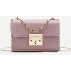 SheIn(sheinside) Pink Push Lock Structured Chain Bag (38 BAM) ❤ liked on Polyvore featuring bags, handbags, shoulder bags, pink, pink shoulder bag, pu handbag, chain purse, chain handbags and chain shoulder bag